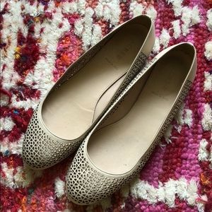 J Crew Nora Perforated Ballet Flat Gold